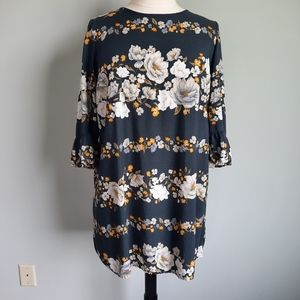 Old Navy Floral 3/4 Flare Sleeve Shift Dress XL